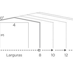 schematic drawing of a delta with wall height of 3m with span sizes and gate sizes