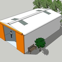 a small Delta warehouse with size of 8m wide, 4m heigh and 13 long with a 4x4m door for easy access with a forklift