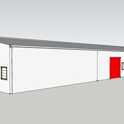 a proposal for a hangar which can serve to accommodate up to 5 small companies (starters) : view from outside