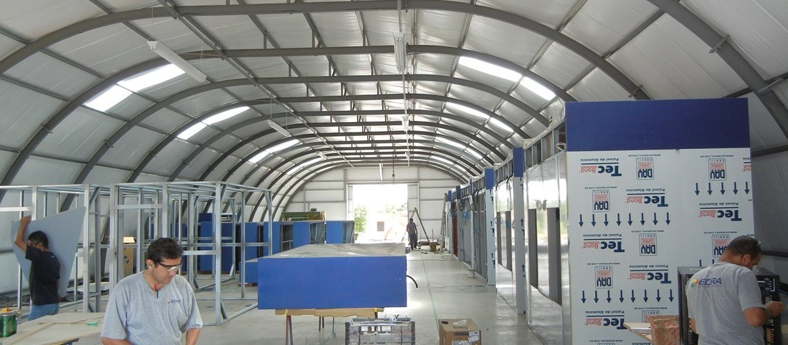 interior view of an insulated Frisomat Omega which is used in production as assembly shop