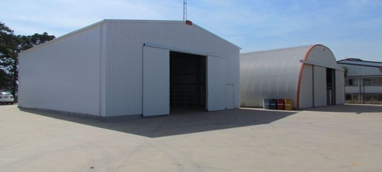 Outside view of a Delta+ steel industrial building